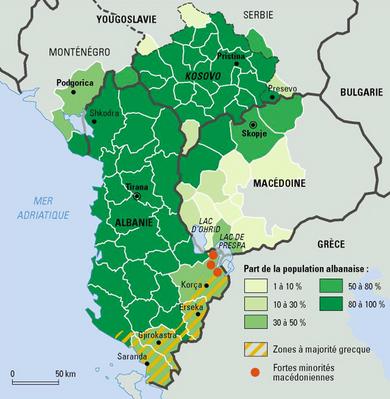 Lugares con población albanesa.
