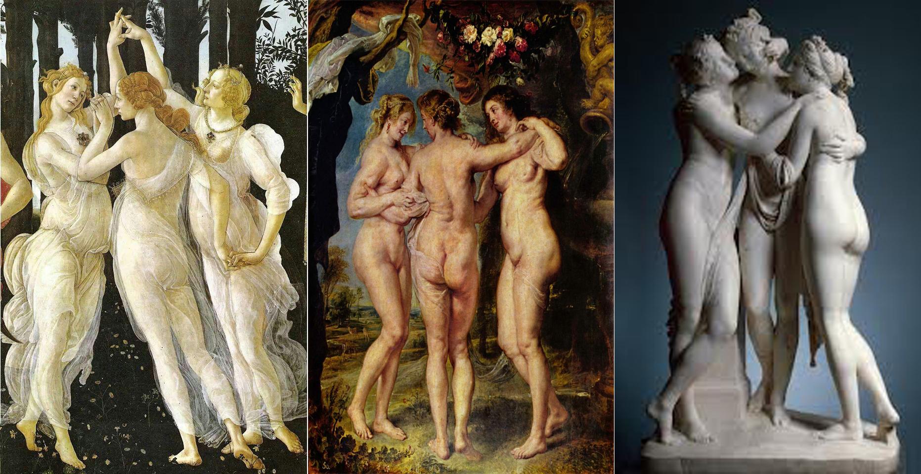 Las Tres Gracias de Botticelli (Izquierda) Rubens (Centro) y Cánovas (Derecha)