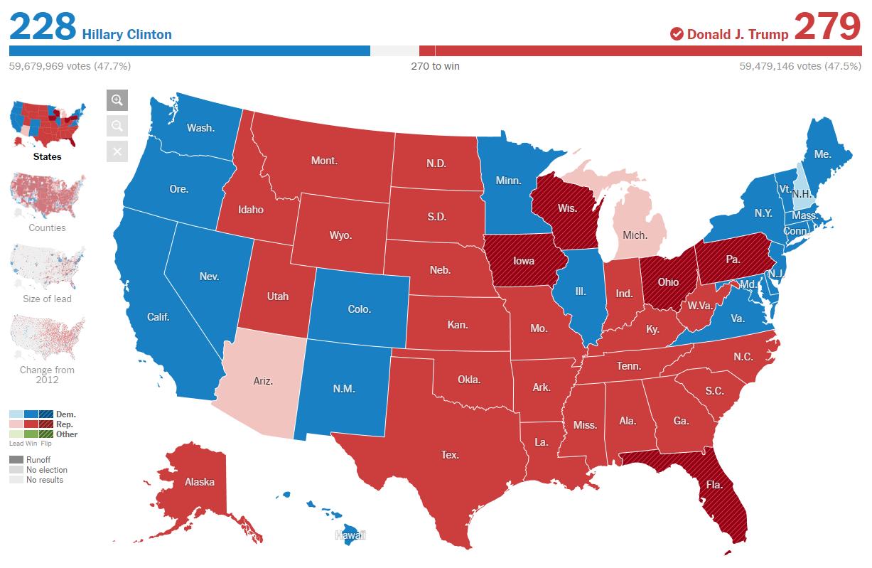 Resultados electorales en cada Estado. Fuente: New York Times