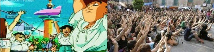 """""""Gente corriente"""" alzando sus brazos para conceder su apoyo a Satán, Goku y Vegeta en su incansable lucha contra el villano Majin Bu. Encontramos aquí una curiosa semejanza estética con los """"repertorios de acción colectiva"""" del movimiento 15-M"""