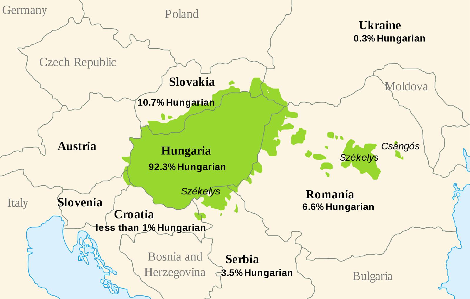 Minorías de etnia magiar más allá de Hungría