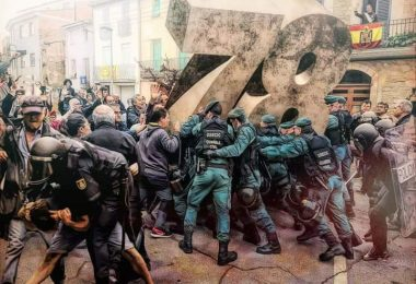 montaje sobre las cargas policiales en Cataluña el 1-O