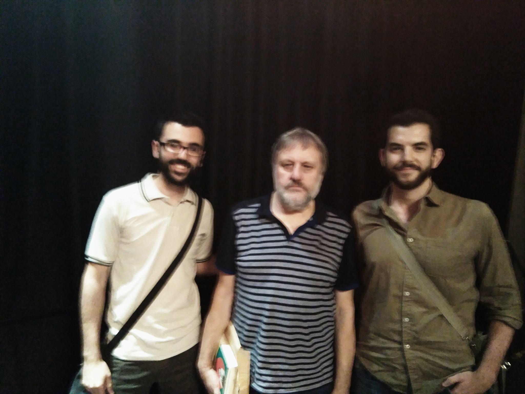 Pedro Nicolás y Manuel Rodríguez junto a Slavoj Zizek