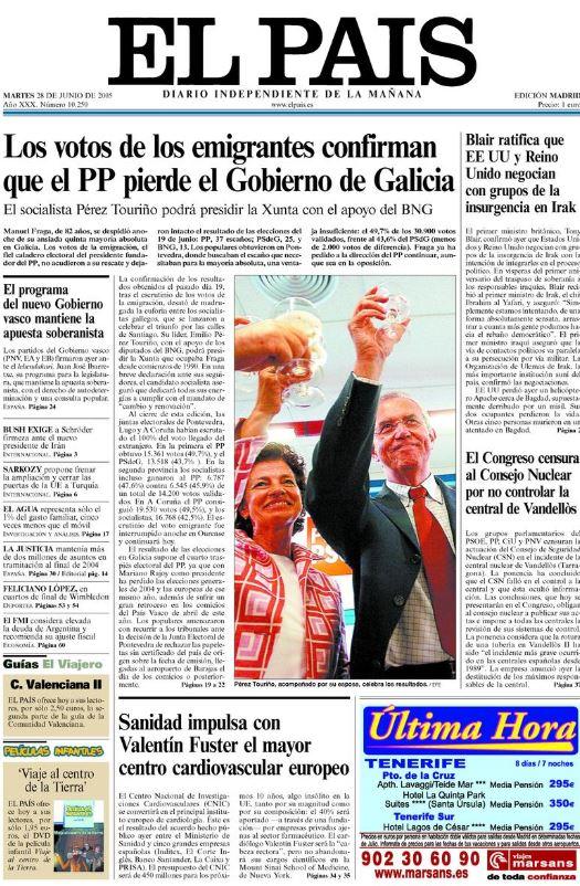 Portada de El País de 28 de junio de 2005