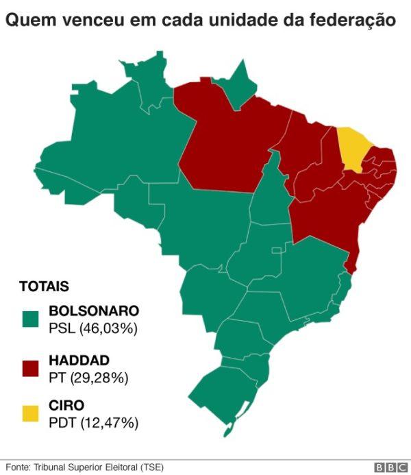 Mapa de Brasil tras la primera vuelta electoral
