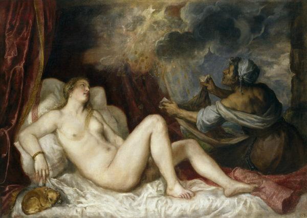 Dánae recibiendo la lluvia de oro, de Tiziano. Museo del Prado. Foto: Wikipedia