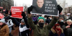 Manifestación en apoyo a Navalny en Rusia