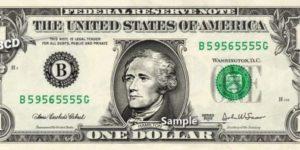 Billete de 10 dólares con la cara de Hamilton