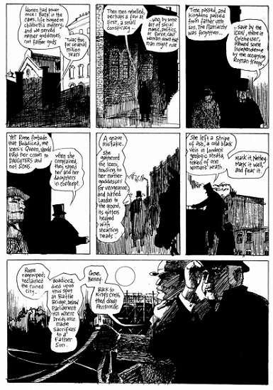 """Fragmento de """"From Hell"""" donde se reproduce la conversación entre Gull y Netley sobre el antiguo matriarcado ya olvidado."""