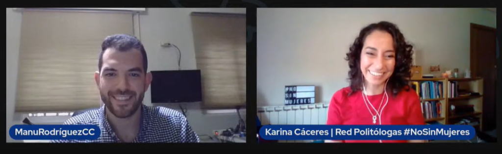 Conversación por Youtube entre Manuel Rodríguez, organizador de los Beers&Politics Madrid, y Karina Cáceres de la Red de Politólogas.
