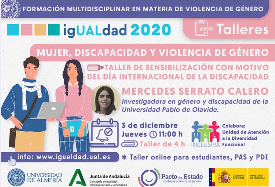 Cartel sobre mujer, discapacidad y violencia de género con Mercedes Serrato.
