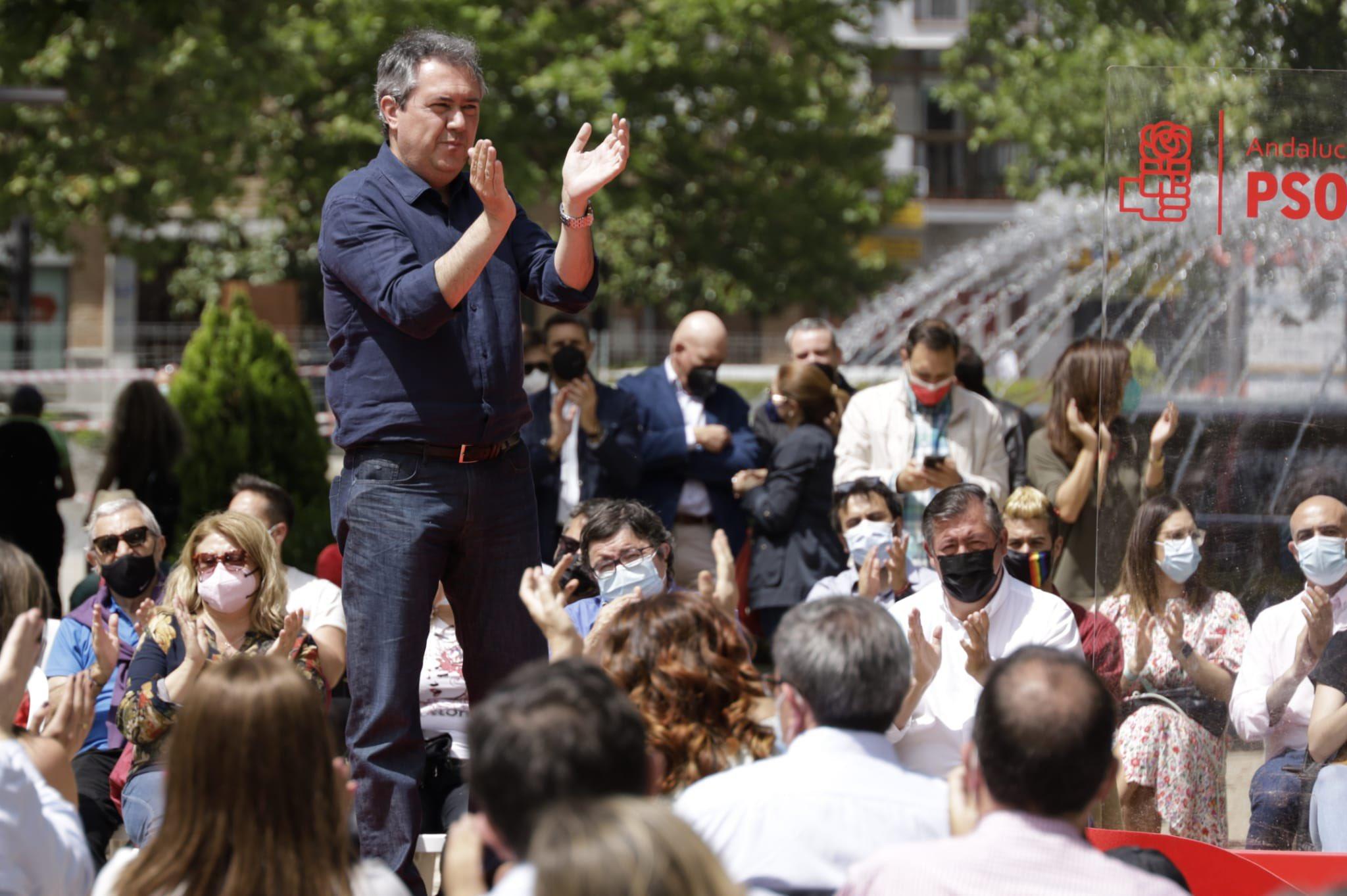 Juan Espadas en un mitin durante las primarias del PSOE de Andalucía